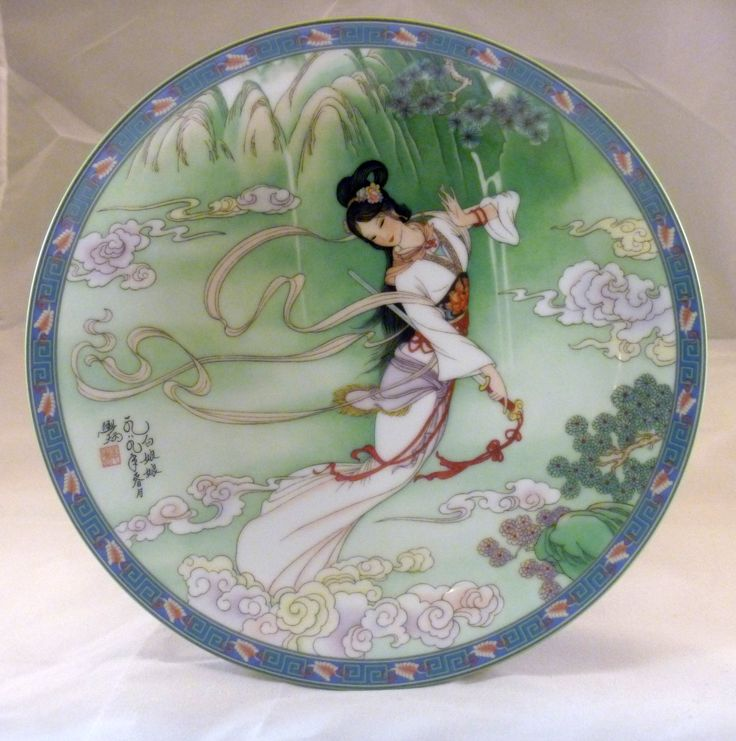 1989 - Lady White  Imperial Ching-te Chen - 1st plate in theLegends Of West Lake SeriesArtist:Jiang Xue-Bing. Size: 8½''.