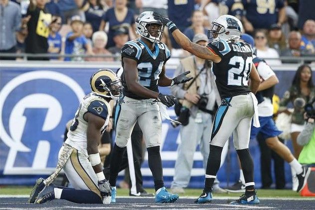 Panthers vs. Rams:  13-10, Panthers  -   James Bradberry, Kurt Coleman, Brian Quick  -   Panthers defensive backs James Bradberry, left, and Kurt Coleman, celebrate after preventing a long pass from Rams quarterback Case Keenum to receiver Brian Quick, left, late in the fourth quarter.
