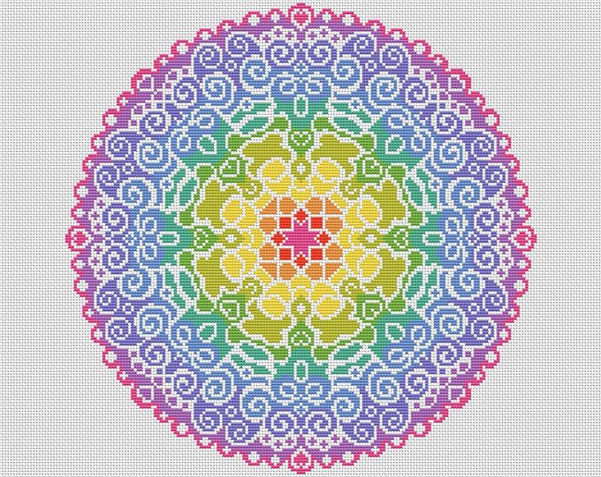 KIT Spectral Mandala Complete Cross Stitch Kit - Large Scale Colourful and Modern Design on Aida - Genuine DMC Threads Included