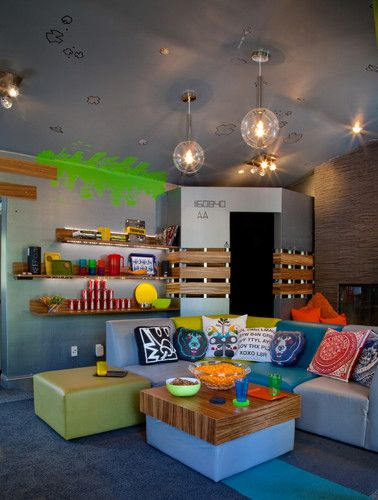 Teenage Video Lounge -Very Cool--Your garage would look cool with this type of set-up....