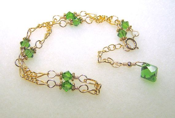 Fern Green Crystal Anklet for Women Adjustable Size Ladies Jewelry Green Ankle Bracelet Beaded Gold Chain Anklet Foot Jewelry Ladies Gifts