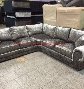 The brand new crushed velvet corner sofa from the Nicole range. A large crushed velvet corner sofa in silver fabric.
