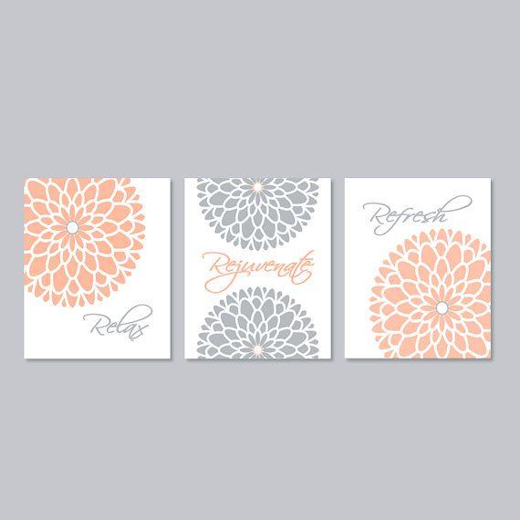 Modern floral flower flourish artwork set of by for Peach bathroom set