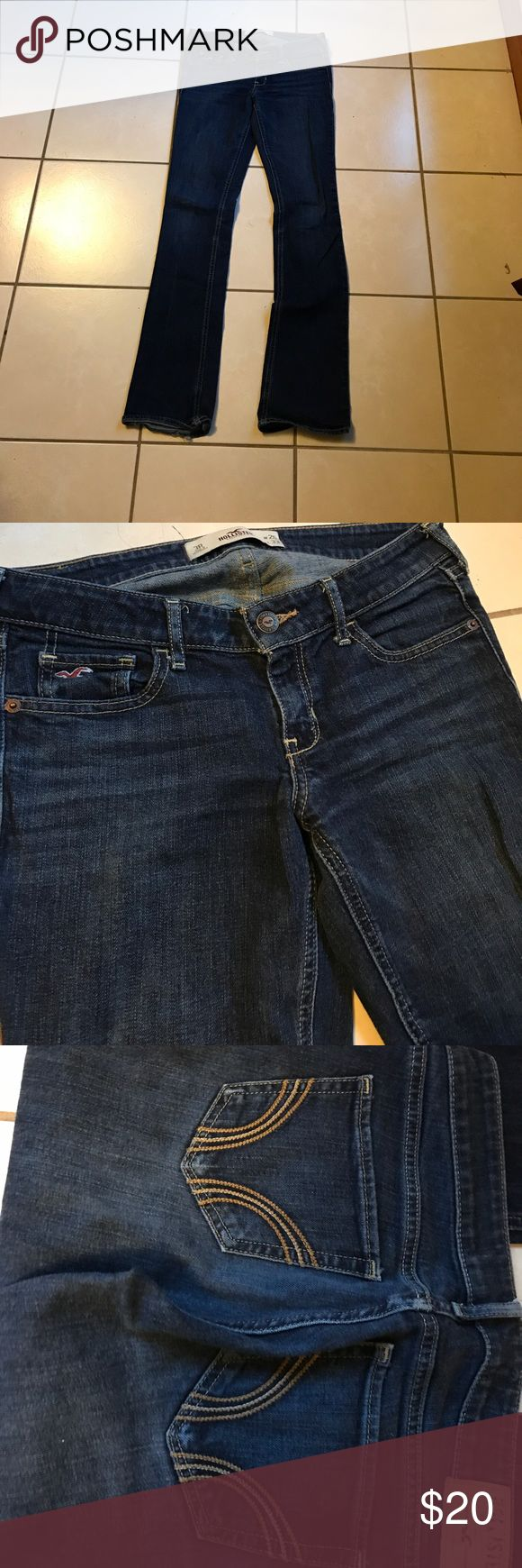 Hollister boot cut jeans These hollister boot cut jeans are in great condition. They are regular length. They are dark blue and have some fading by the pockets. They are tight fitting and very flattering. Hollister Jeans Boot Cut