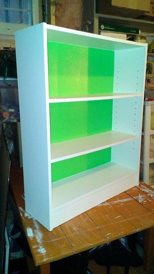 Old pressboard bookcase gets a makeover.