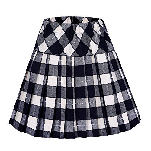 Urban CoCo Women's Elastic Waist Tartan Pleated School Skirt (Small, series 5 beige) -- To view further for this item, visit the image link. I'm an affiliateof amazon, so and so  .