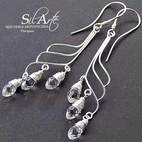 Polihymnia kolczyki ze srebra - Biżuteria ślubna - Biżuteria srebrna