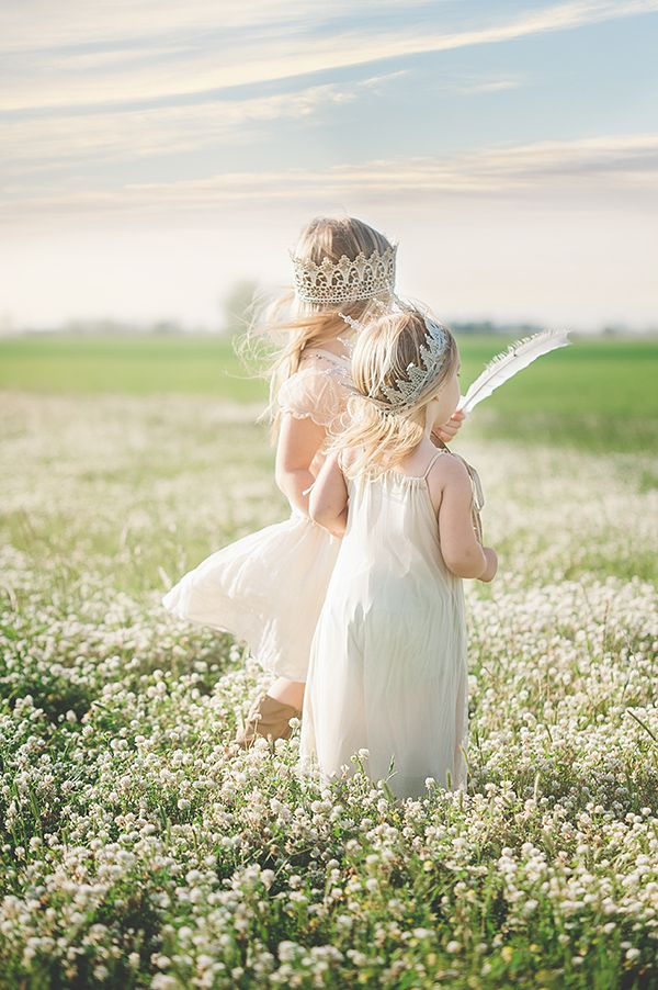 Child photography in field.