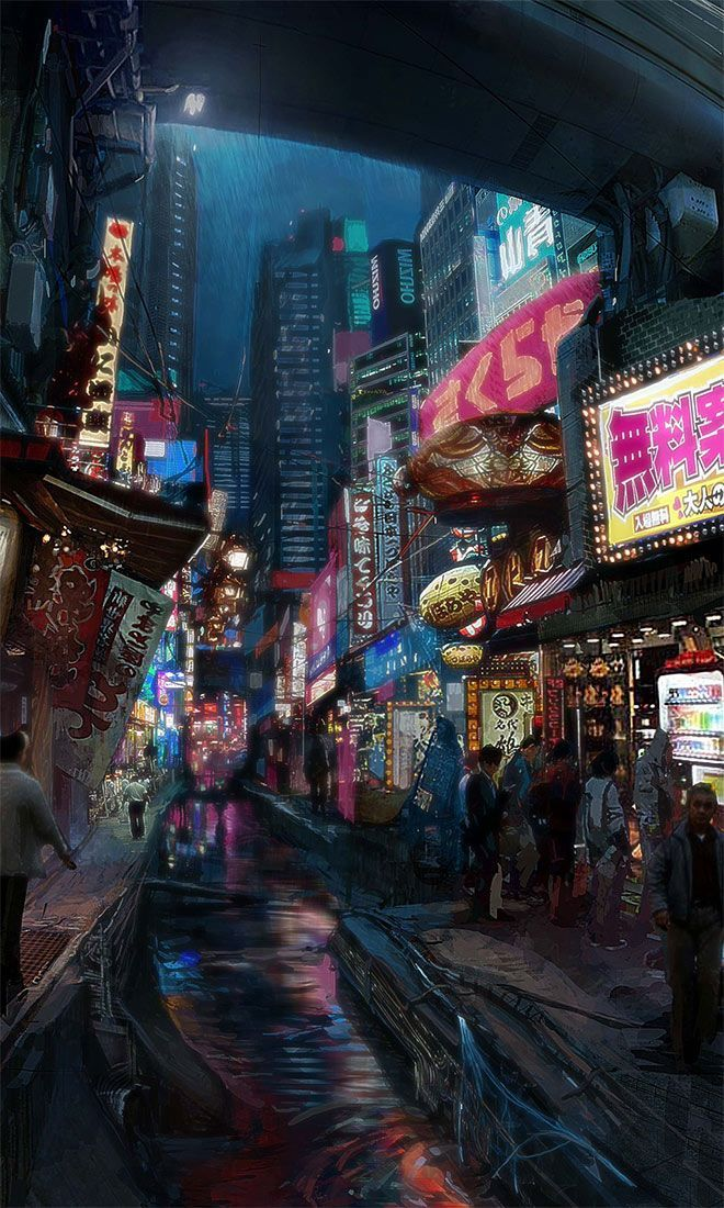 Showcase Of Mind Blowing Concept Art Of Futuristic Cities Night City Concept Art For Vincenzo Natali S Neuroman In 2020 With Images Futuristic City Cyberpunk City Cyberpunk Art