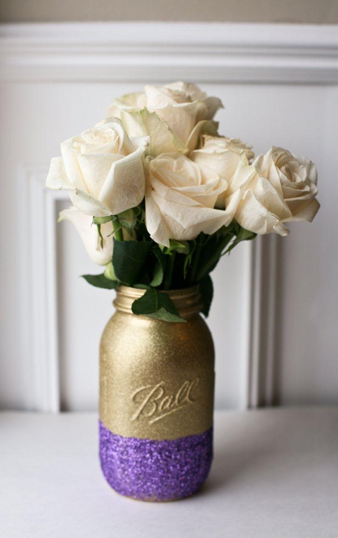 Gold and purple glitter painted mason jar. http://www.pinkbirdiejars.com/product/gold-and-purple-glitter-painted-mason-jar-wedding-centerpiece-home-decor-rustic-wedding-flower-vase-office-organizer-purple-decor/