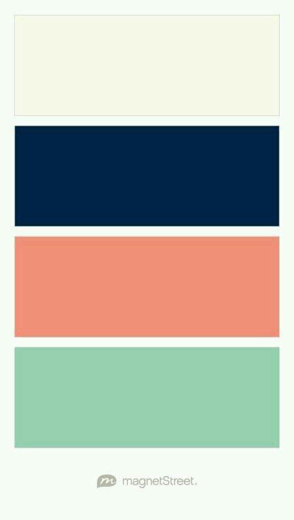 Beige, azul marino, coral y menta