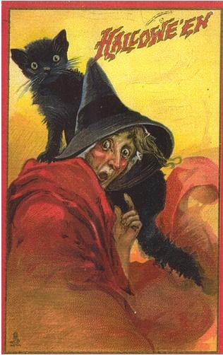 Vintage Postcards, Halloween Witches, Vintage Halloween, Halloween Cards, Vintage Holiday, Vintage Wardrobe, Vintage Pictures, Black Cat, Vintage Image