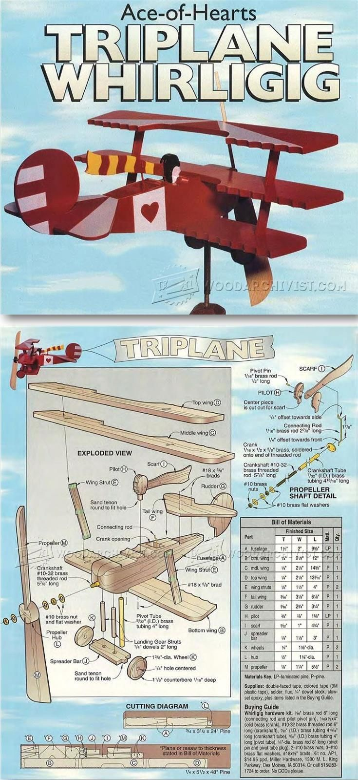 Triplane - Whirligig Plans - Outdoor Plans and Projects   WoodArchivist.com
