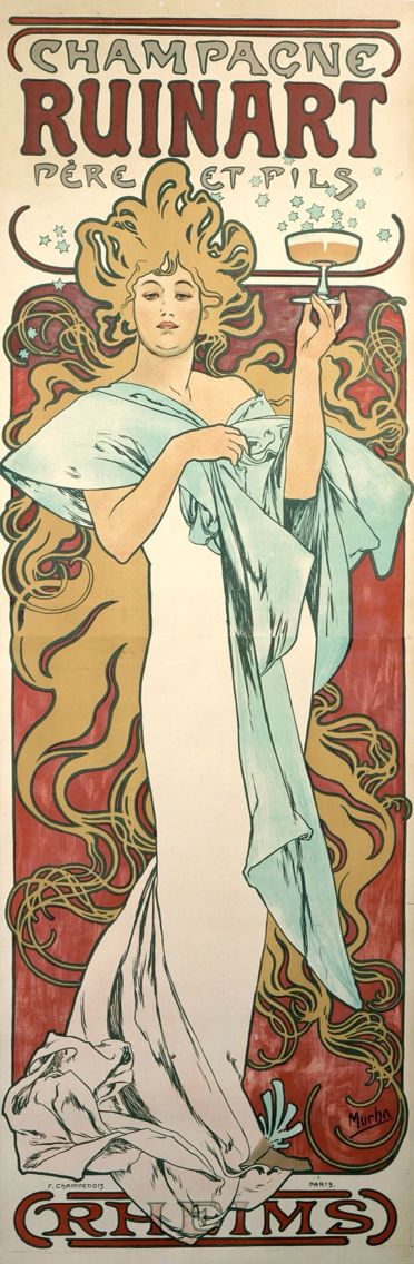 Ruinart Champagne poster by Alphonse Mucha, 1896. Art Nouveau poster