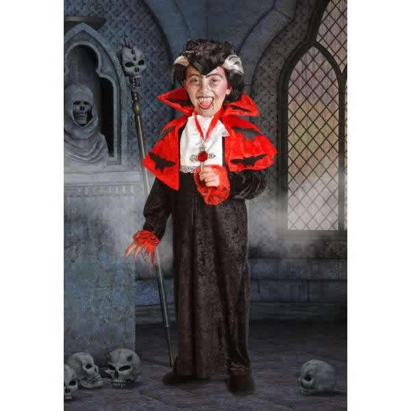 DisfracesMimo, disfraz vampiro lujo para niño 10 a 12 años.Los más pequeños de la casa atacarán los cuellos de sus amigos. Sal de tu castillo y disfruta de halloween.Este disfraz es ideal para tus fiestas temáticas de disfraces de miedo y vampiros para niños infantiles.