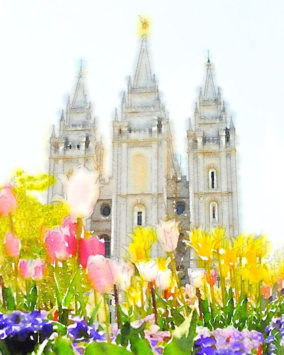 Salt Lake City Temple Watercolor by TenielleBender on Etsy