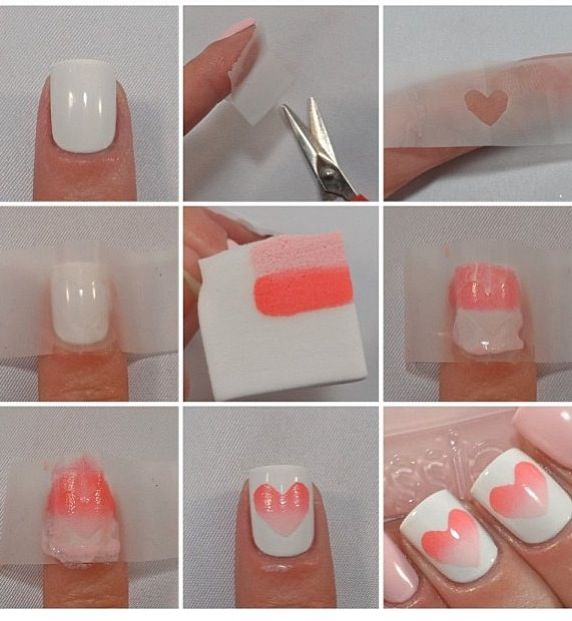 """Cut a heart shape out of tape, apply nail polish on a paper towel, and """"blob"""" it…"""