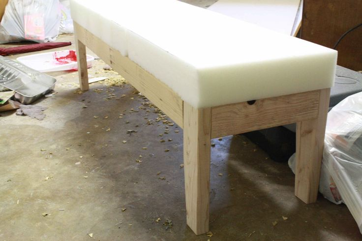 Do this with a coffee table for end of the bed bench and window seat in kiddo's room..