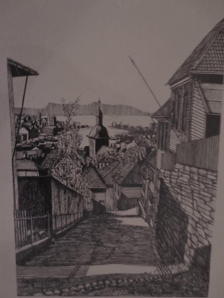 """Tegning av Erik Guldbransen fra 1966.   """"Skivebakken mot Bergen"""""""