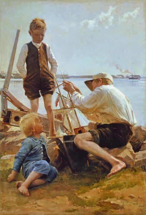 Laivanrakentajat - Albert Edelfelt | Wikioo - The Encyclopedia of Fine Arts