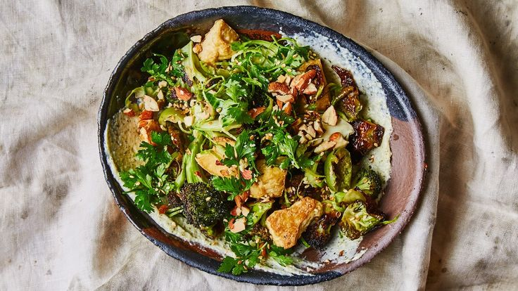 roasted broccoli and tofu with creamy miso dressing