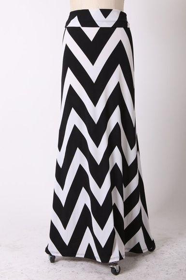 $34.95 Plus Size Chevron Maxi Skirt Black - Kelly Brett Boutique