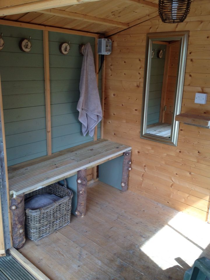 Hot tub changing room!! Mainly up cycled decking, logs and ...