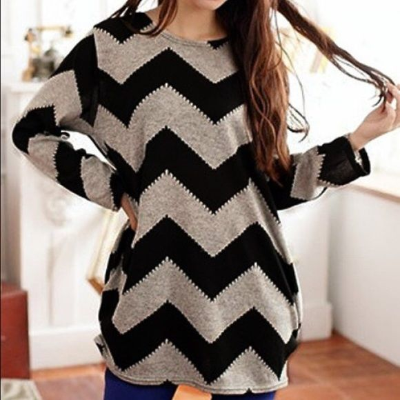 B2G1  Super cute chevron top! Cute round neck chevron top with long sleeves. Material: polyester. See last picture for measurements. Tops Tees - Long Sleeve