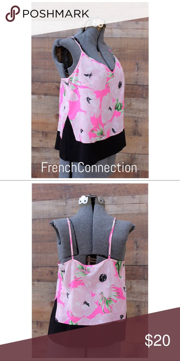 """French Connection Pink Cami Tank Large New New pink and black floral cami. Size Large. Tags attached. Retail $98. """"Holiday Poppy Polly"""" adjustable straps. French Connection Tops Camisoles"""