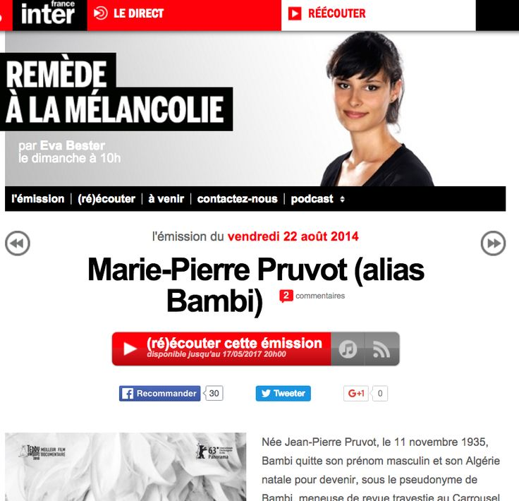 podcast France Inter, emission Remede a la Melancolie - invitee: Bambi http://www.franceinter.fr/emission-remede-a-la-melancolie-marie-pierre-pruvot-alias-bambi