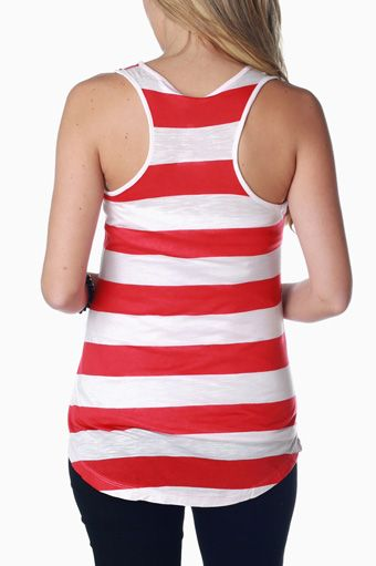 Red White Striped Maternity Racerback Tank