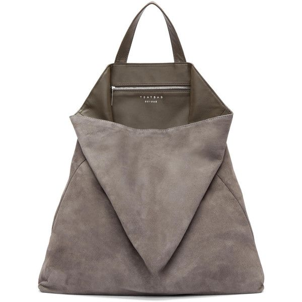 Tsatsas Grey Suede Fluke Tote ($1,265) ❤ liked on Polyvore featuring bags, handbags, tote bags, purses, tote purse, grey tote bag, suede tote bag, man bag and handbags totes