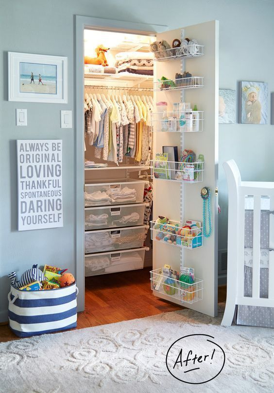 Small Baby Closet Ideas | Nursery Closet Organization Pictures and Tips pinned by freebies-for-baby.com #nursery #neutral #baby