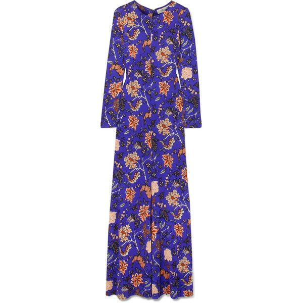 Diane von Furstenberg Printed silk maxi dress ($1,000) ❤ liked on Polyvore featuring dresses, long dresses, purple, blue fit-and-flare dresses, purple maxi dresses, print maxi dress, purple dresses and flower maxi dress