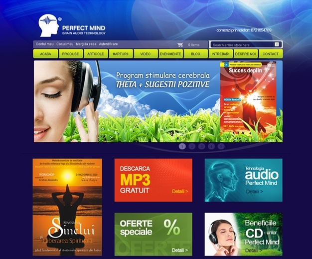 Virtual store for audio products.The website design was conceived like a book. The first page has a dark colour background, like a book cover, and the other pages have a light colour background. This site is promoted under the brand Magento Designer Store. Done on Magento platform, the virtual store offers complex functions and has a unique design.