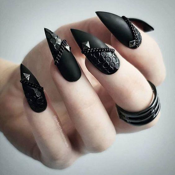 50+ coole Stiletto-Nägel Designs zum Testen im Jahr 2019 + Tips Coole Stiletto-Nägel; bla … – Diy Nagel – Nail Art