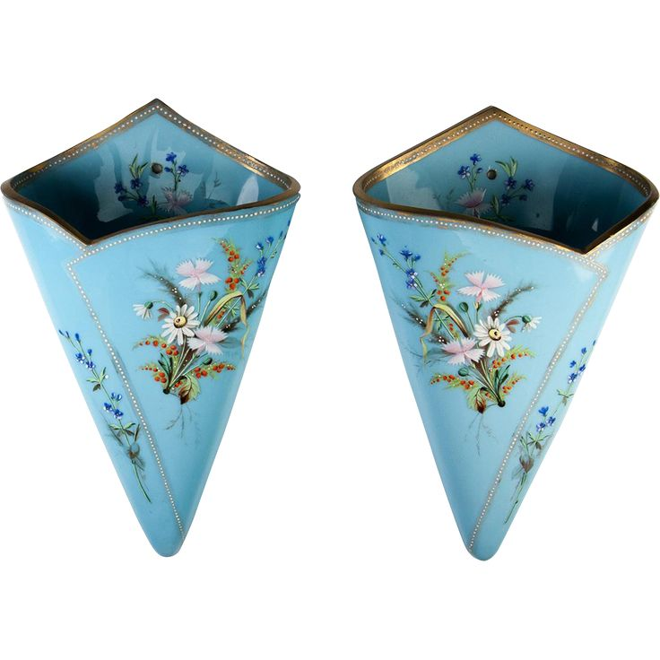 This very rare and excellent pair of early to mid-1800s Bohemian opaline glass wall pocket vases are each 11 high, are Harrach, we're quite certain  Make it happen with vintage retro home decor fashion jewelry from www.rubylane.com @rubylanecom #rubylane