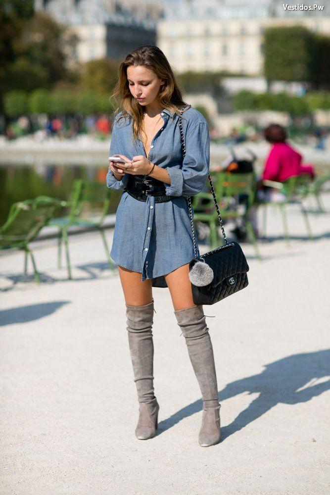 40 Ideas De Vestidos Con Botas Largas Cortas Vaqueras Y