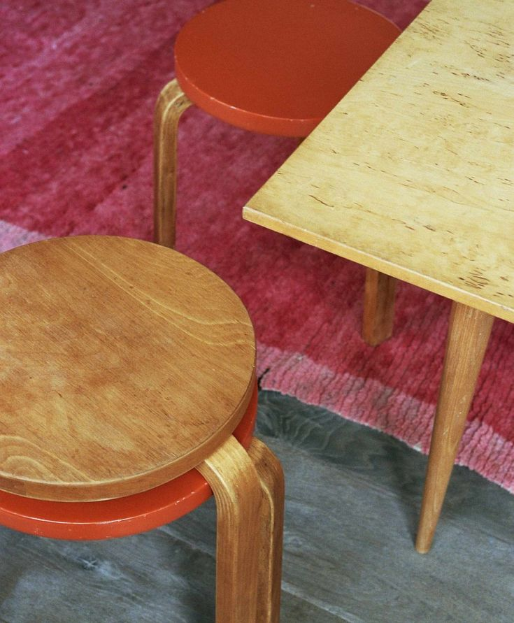 A shoot by Abel and Ruby featuring Alvar Aalto furniture and a vintage Moroccan Emily's House London rug