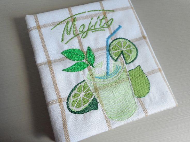 """Torchon brodé """"Mojito"""" blanc, vert, beige broderie, citron, menthe machine, carreaux : Cuisine et service de table par miss-coopecoll"""