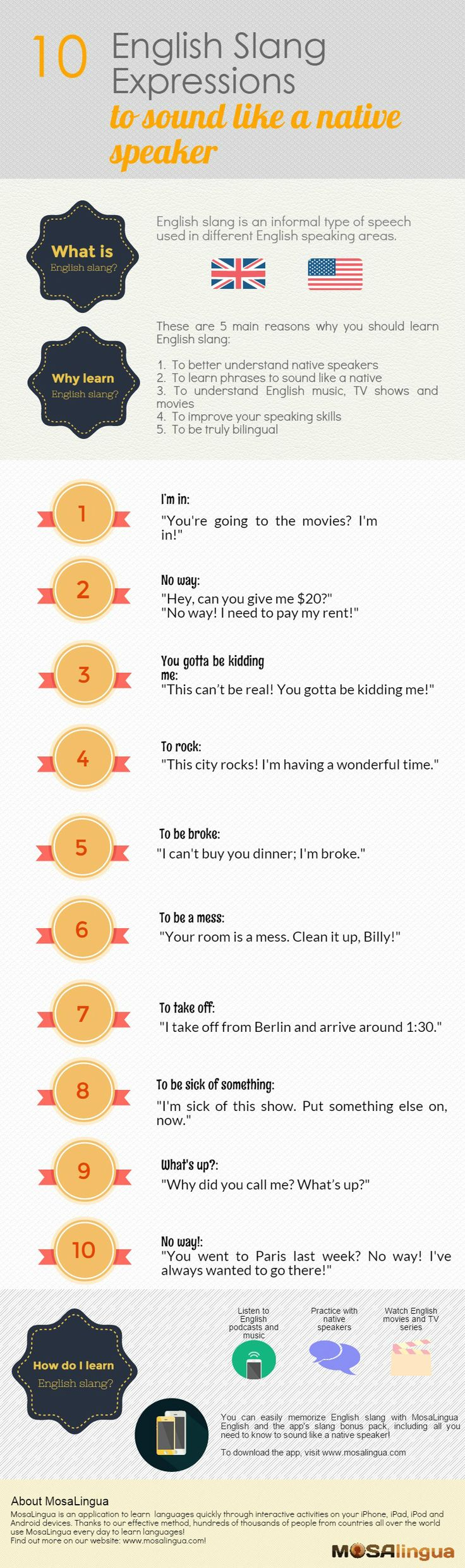 10 English slang expressions to sound like a native speaker.