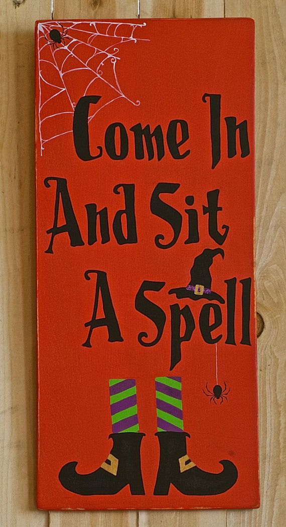 Witch wood Halloween sign.  Fall decor. by SignsStuffnThings, $24.99
