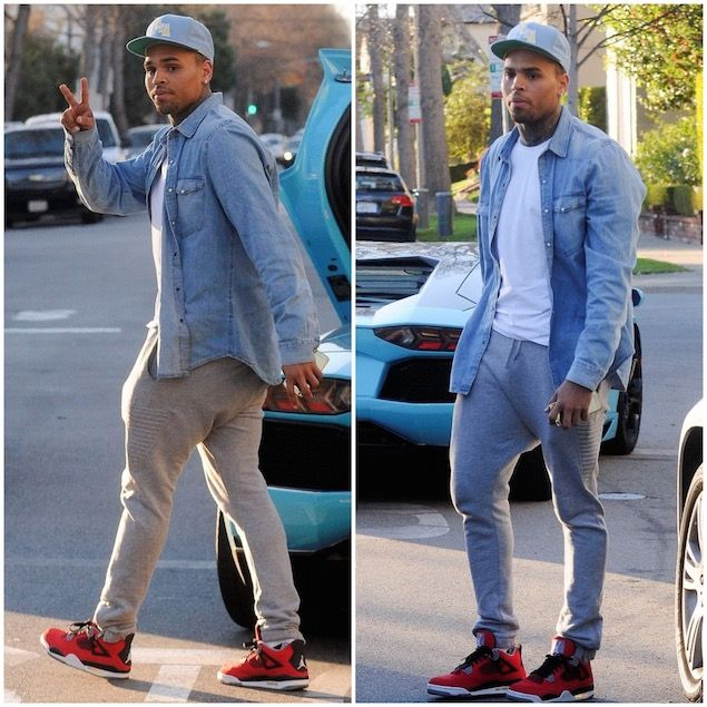 Chris Brown Wears VenusxMars Buck Rogers Sweatpants and Air Jordan 4 Retro Toro Sneakers | UpscaleHype