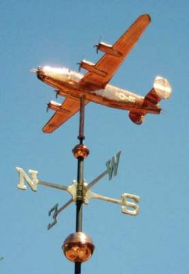 B-24 Liberator Airplane Weather Vane by West Coast Weather Vanes.  This handcrafted custom made B-24 WWII Liberator aircraft can be made using a variety of metals with optional gold and palladium leafing.