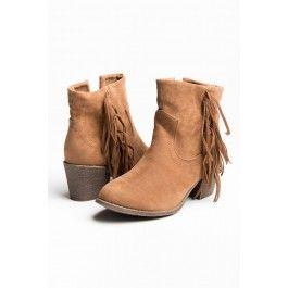 Tan suede fringe heel boots