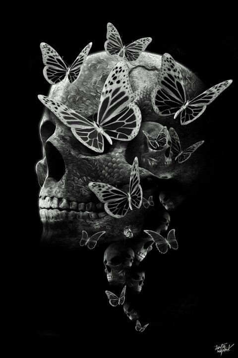 I think I may developing a small obsession with pretty skulls. :D