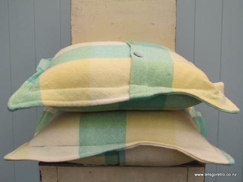 Green/Yellow Button Cushion