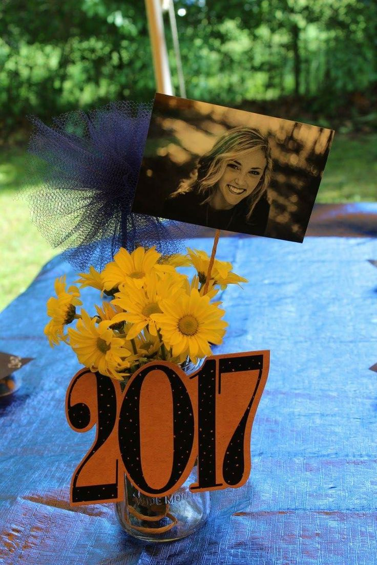 Centerpieces for our daughters grad party. We used different pics for each table. Pictures and poms were attached to paper wires from Jo-Anns in quart sized mason jars. Blue pom poms and yellow flowers for school colors. Blue metallic table cloths found at Wal-Mart for 4.99 each. Got the 2017 signs off of amazon.