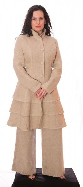 <p>European Design. Handmade Lined, Layered, lined coat with pockets on the sides. A classic addition to any wardrobe. One medium Coat left!! Buy Today</p>