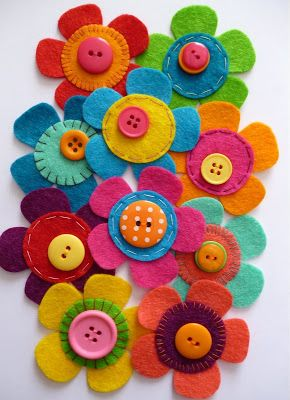 botton and felt flowers